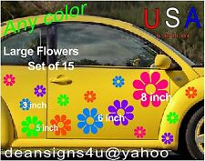 LARGE Flowers Tropical SET 15 Daisy STICKER Decal TRUCK CAR Boat Van Auto USA