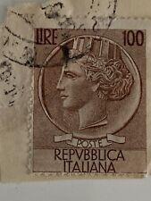 Francobollo -100LIRE Republica Italiana Con Timbro Postale