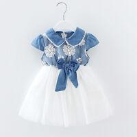 Toddler Newborn Baby Girls Lace Denim Tulle Princess Dress Party Ball Tutu Dress