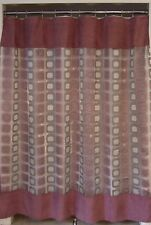 Purple Pink Gray Silver Geometric Flocked Clear Sheer Fabric Shower Curtain