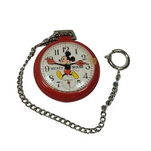 Vintage Bradley Mickey Mouse Pocket Watch Red Case Runs Windup Character Disney