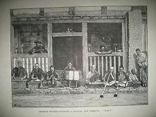 INDE HIMALAYA DARFELING CEREMONIE RELIGIEUSE BOUDHISME MUSICIENS GRAVURES 1883