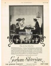 1920 Gorham Silverware Women Enjoying Tea art Vintage Ad