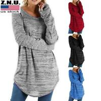 Womens Long Sleeve Solid T-Shirt Blouse Casual Loose Solid Tunic Tops Plus Size