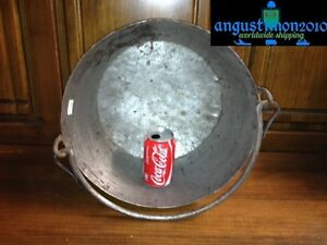 "RARE ANTIQUE AWESOME 17-18TH 16.2"" OLD CAULDRON HAMMERED POT KETTLE IRON KITCHEN"