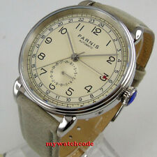 42mm Parnis Beige dial 24 Hours GMT date Automatic Movement Mens Watch leather