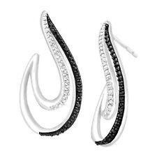 Swirl Earrings with Enhanced White & Black Diamonds in Sterling Silver