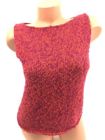 Eileen Fisher Blouse Tank Top Cami Thick Knit Sleeveless Orange Hot Pink Size S
