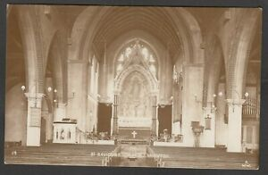 Postcard Brighton Sussex interior of St Saviours Church early RP