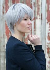 Kurze glatte Echthaar-Perücken & -Haarteile Kunst in Grau