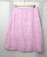 Orvis Womens Flare Skirt Size M Floral Pattern Pink and White 100% Linen Shell