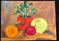 Vintage Original Oil Painting Impressionist Still Life Plant Fruits Back Signed