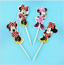 24pcs Cartoon Minnie Mouse Dancing Cupcake Toppers pick Kids Birthday Party Deco