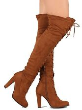 Black Tan Wine Riding Lace up Over the Knee Boots Women's Thick Heel shoes Dasia