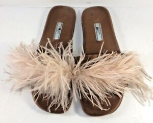 Prada Pink Feather Leather & Satin Slides Mules Womens Size EUR 37.5M
