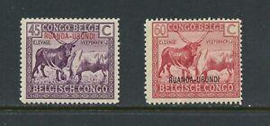 A571  Ruanda-Urundi  1925/7  fauna wild animals  OVERPRINTED   2v.   MH