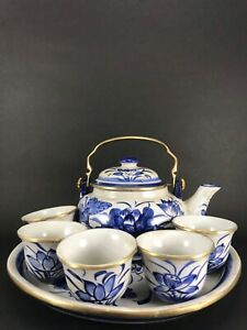Blue and white chinaware porcelain Teapot set