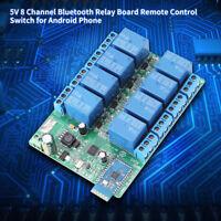DC 5V 8Kanal Bluetooth Relaismodul Wireless Fernbedienung Schalter Für Android