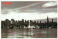 Black & White Skyline of Manhattan, New York City, Buildings, Harbor -- Postcard