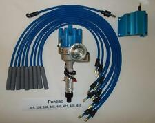 PONTIAC 350-389-400-455 BLUE Small FEMALE Cap HEI Distributor,Coil & PLUG WIRES
