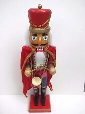 Drummer Nutcracker 15 Inch Painted Wood Christmas Holiday Decorative Glitter Red
