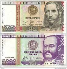 PERU' 1000 5000 INTIS 1988 FDS UNC
