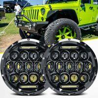 "Pair 7"" INCH LED Headlights Hi/Lo Beam DRL /2 Wire for Jeep Wrangler JK LJ CJ"