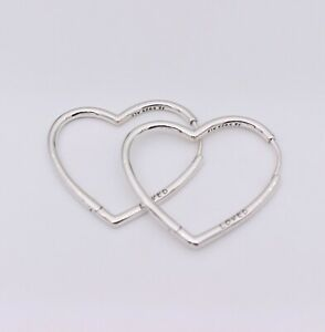 New Authentic PANDORA Large Asymmetrical Heart Hoop Earrings #297822 w/ Pouch