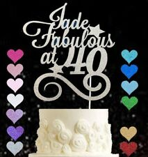 Personalised Fabulous at 40 glitter cake topper birthday 50 60 70 80 90 ANY AGE