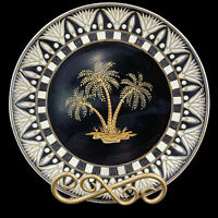 Vintage Decorative Porcelain Plate Painted Palm Trees Brass Wall Table Stand 10""