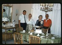 1962 Kodachrome photo slide People in living room   Cake