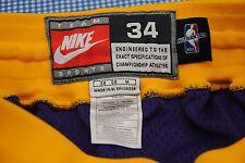 VTG Nike NBA Authentic Los Angeles LA Lakers Team Shorts Size 34 M SHAQ KOBE
