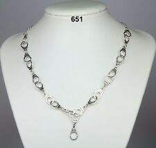 """Novelty silver (metal alloy) handcuff necklace on silver-plated chain 19""""+2"""