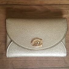 Coach Genuine Metallic Card Case Wallet Turnlock - Pale Gold C2420G - RARE Find!