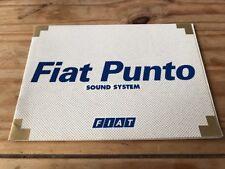 Fiat Punto Sound System Manual 1999
