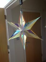 3 X 60cm Christmas Snowflake Fan Hanging Tree Ceiling Decoration Iridescent