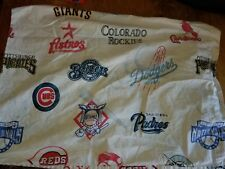 "Pottery Barn Kids ""National League Baseball Logos"" Full Flat Sheet"