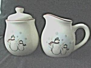 Snowman Royal Seasons Cream Brown Stoneware Creamer & Sugar Bowl Lid Set Winter