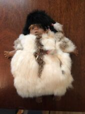 VINTAGE NATIVE AMERICAN INDIAN DOLL w RABBIT FUR CLOTHING