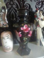 Beautiful Black Vintage Vase  With Pink Roses