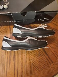 Callaway Ladies Half Lace Golf Shoes #21 Black/ White New in Box size 7.5 US