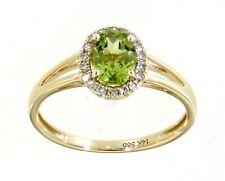 0.76CT Peridot Gemstone 14K Yellow Gold Real Halo Diamond Oval Ring Fine Jewelry