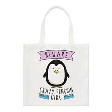 Tenga cuidado con Crazy Pingüino GIRL Small Tote Bag-animales graciosos Hombro Shopper