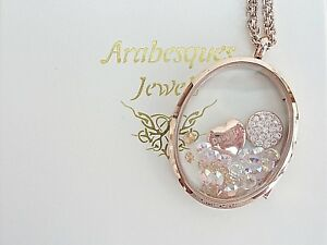 """ARABESQUES CHARM POT """"Daughter"""" living memory/floating locket/necklace Rose Gold"""