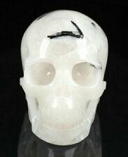 Huge 5.0 IN  Tourmaline Crystal Quartz Carved Skull, Realistic, Healing #1159