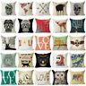 Cotton Linen Cushion Cover Bed Sofa Home Decor Letter Deer Skull Pillow Case