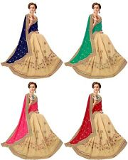 Indian Pakistani Latest Bollywood Heavy Embroidery Designer Silk & Satin Saree