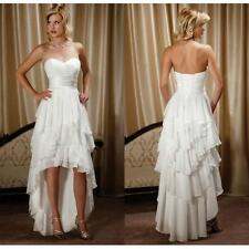 High-Low White/Ivory Chiffon Front Wedding Dress Bridal Gown Custom all size6-24