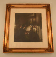 Peter Ilsted: Interior with two girls at the piano. Mezzotint in colours