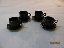Set 4 Black Homer Laughlin Demitasse/Espresso Cups and Saucers,Lead Free